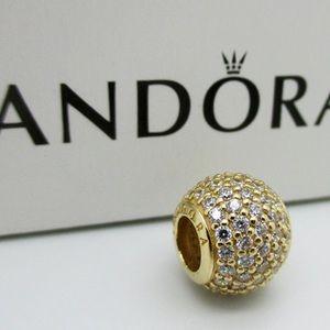 Pandora 14K Yellow Gold CZ Pave Ball Light Charm
